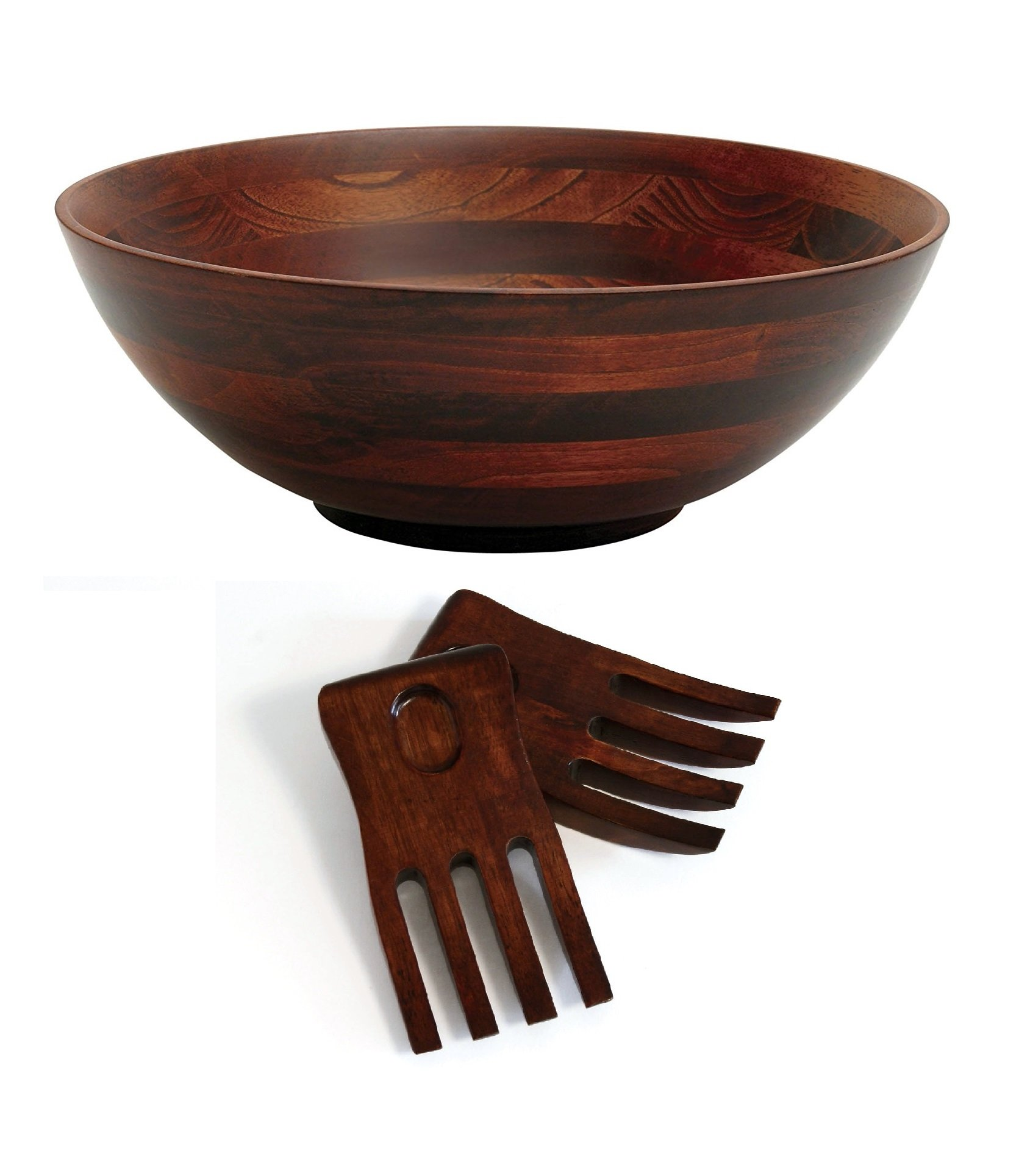 Lipper International 274-3 Cherry Finished Footed Serving Bowl with 2 Salad Hands, Large, 13.75'' Diameter x 5'' Height, 3-Piece Set