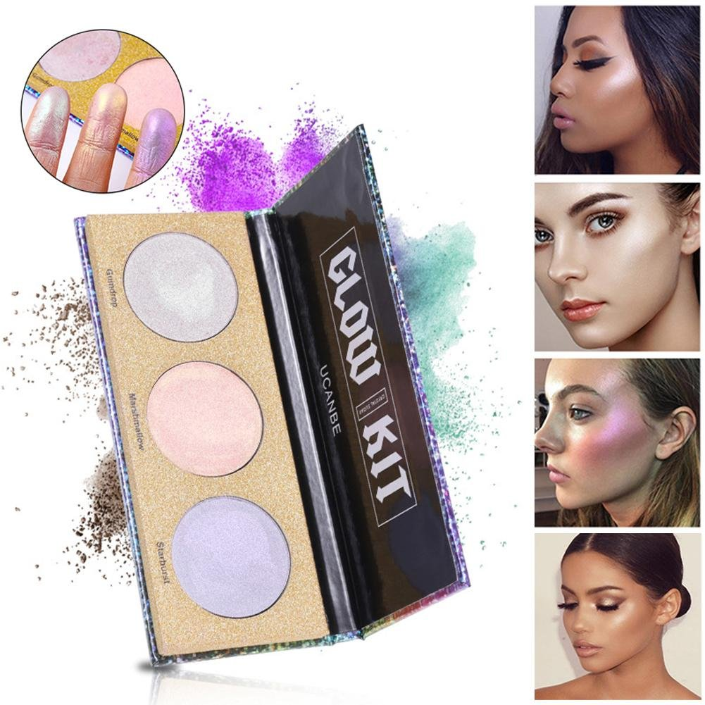 ZHUOTOP 3 Color Face Shimmer Powder Highlighter Glow Kit Makeup Cosmetic Palette Contour Brightening