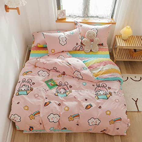 Soft Cartoon Cloud Duvet Cover Queen Bedding Set For Kids 100 Cotton Cute Stars Girls Bedding Sets Reversible Lightweight Comforter Bed Sets Pink Queen Kitchen Dining