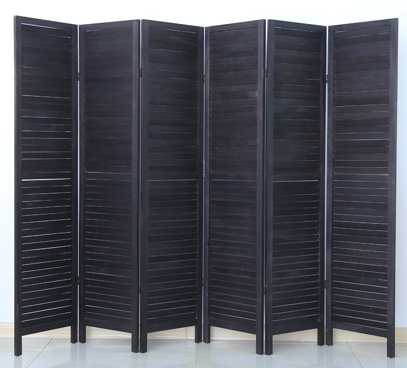 Paravent persienne de 6 pans en bois - coloris noir - Dim : H170 x L240cm - PEGANE -