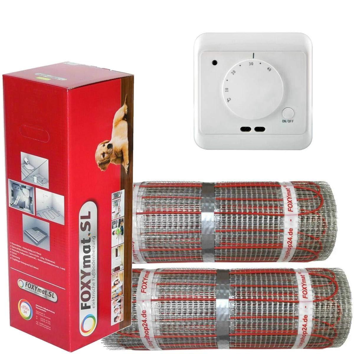 mit Thermostat QM-AG,Komplett-Set 200 Watt pro m/²,f/ür die schnelle Erw/ärmung FOXYSHOP24-elektrische Fu/ßbodenheizung PREMIUM MARKE FOXYMAT.SL RAPID 10.0 m/² 0.5m x 20m