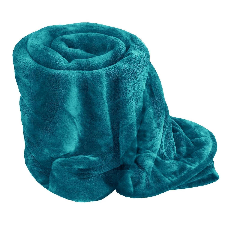EGYPTO Fleece Blanket - Extra Soft Fur Brush Fabric, Super Warm Bed Throw, Lightweight Sofa Blanket, Easy Care (Single (127cm x 152cm), Black)