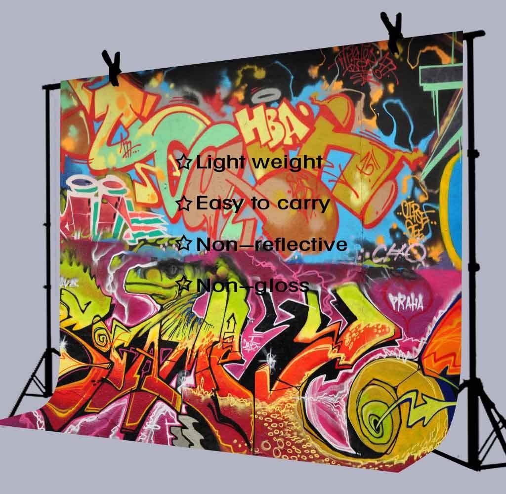 Amazon com 80s 90s graffiti backdrops for photography 9x6ft graffiti wall hip hop photo backgrounds wall decor studio props lucksty lulf491 camera