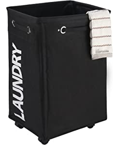 "Caroeas 23"" Pro+ Wheeled Laundry Hamper Black&White Breathable Cover Heavy Duty Laundry Sorter Dirty Clothes Organizer Waterproof Foldable Laundry Basket Extra Large Laundry Bag (Pro Plus 23"",Black)"