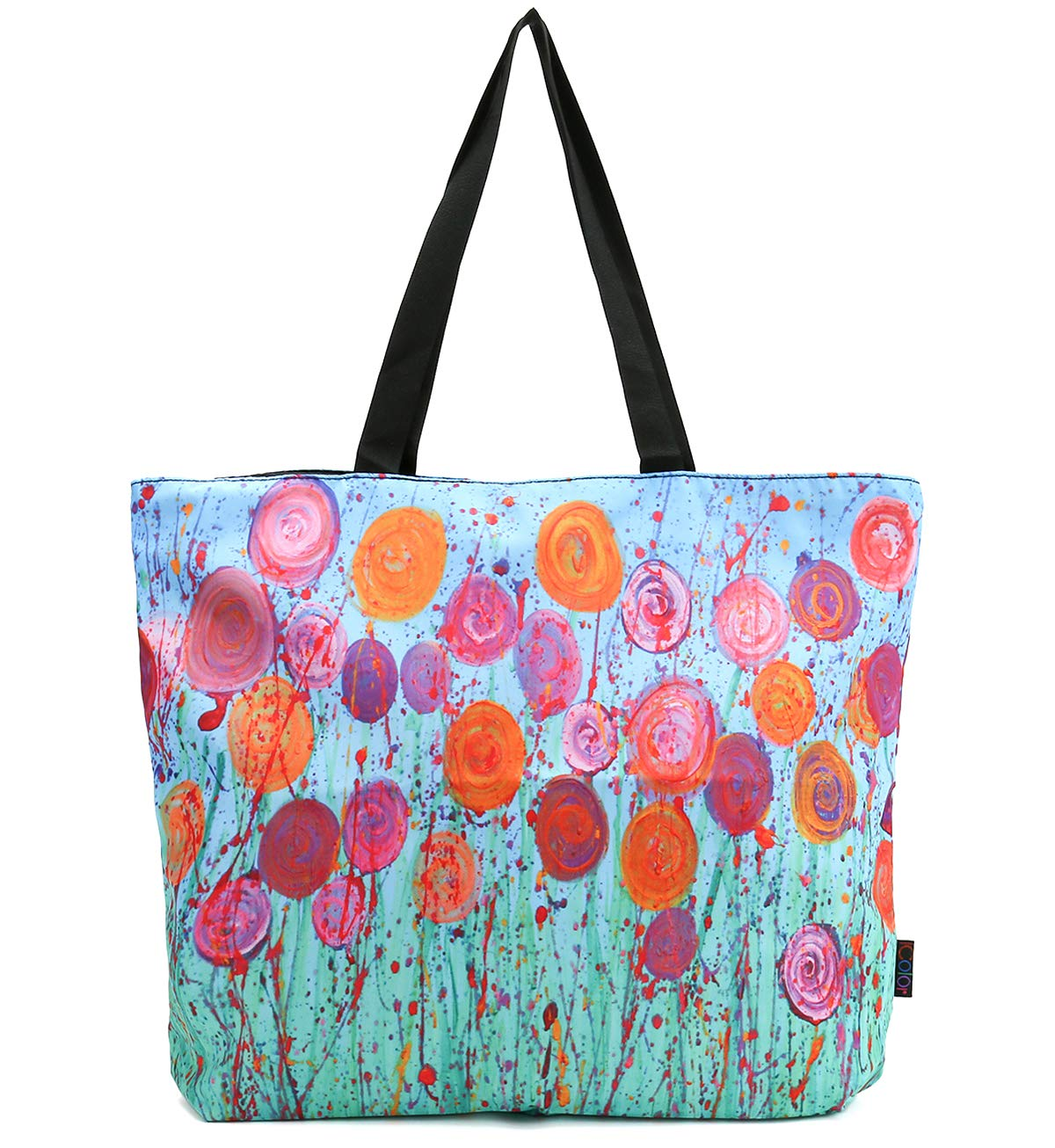 ICOLOR Blue Smiling Face Gym Bag Tote Bags Shoulder Bag Beach Bag with Zipper for Men Women,Reusable Gym Picnic Travel Beach Shopping Work Daily Use Shoppers Tote GymBag-01