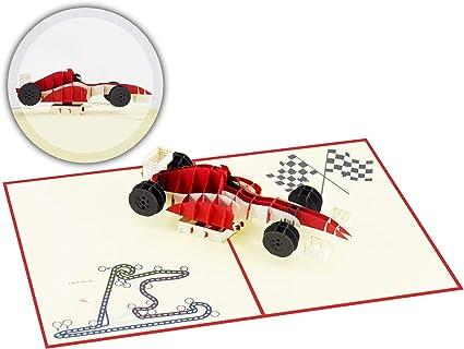 Carte pop-up 3D avec voiture de course rouge