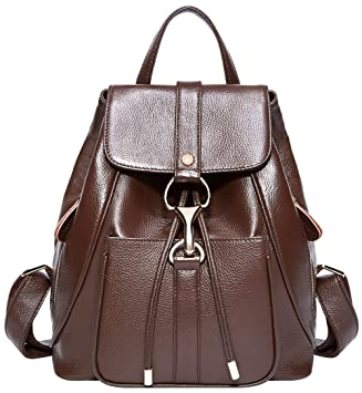 4e8e19bef3 Amazon.com  BOYATU Real Leather Backpacks Purse for Women Ladies Fashion  Travel Shoulder Bag (Coffee Brown)  Boyatu