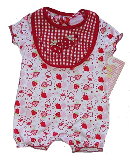 15f5ab2d1339 Amazon.com  Duck Duck Goose Baby Girl s 6-9 Months Strawberry Romper ...
