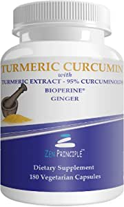 Zen Principle Organic Turmeric Curcumin Root with Bioperine Dietary Supplement - 180 Capsule