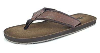Mens Leather Look Mules Flip Flops Beach Summer Shoes Sandals Brown Size 6-12