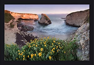 Davenport, Santa Cruz County, California - Panoramic View Over Shark Fin Cove at Sunset 9021698 (24x16 Giclee Art Print, Gallery Framed, Black Wood)