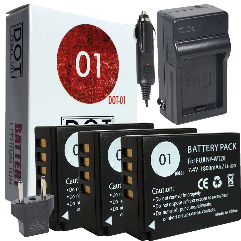 3x DOT-01 Brand Fujifilm X-T20 Batteries and Charger for Fujifilm X-T20 Mirrorless Digital Camera and Fujifilm XT20 Battery and Charger Bundle for Fujifilm NPW126 NP-W126