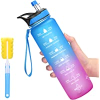 Favofit Botella de agua con marcador de tiempo, botella de agua motivacional con pajita y cepillo para polvo de limpieza…