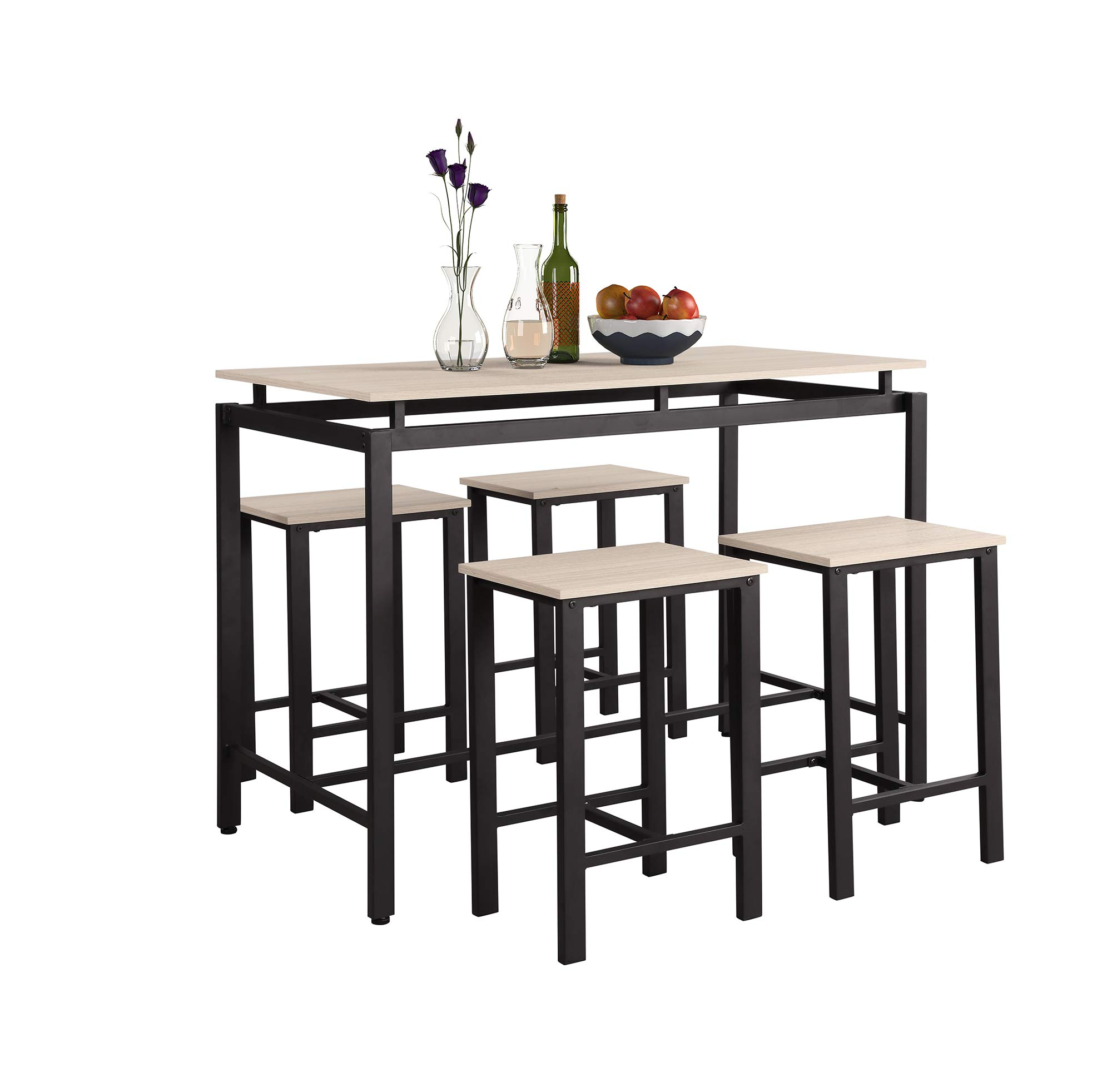 LOKESI 5Pcs Dining Set Modern Style Wooden Kitchen Table and Chairs with Metal Legs (Beige)