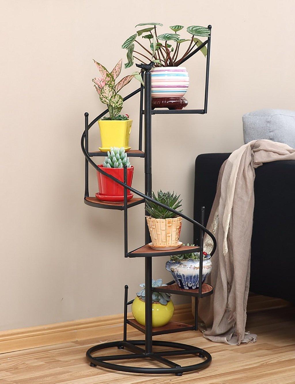Europäische Art-Eisen-Blumen-Zahnstange Mehrschichtiges Bodenblumen-Topf-Regal-Balkon-Wohnzimmer Innen-Chlorophytum-Blumen-Zahnstange ( farbe : A )