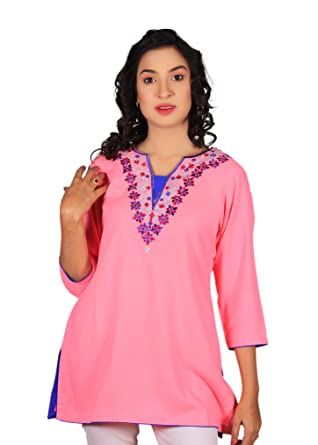 5a44e47a545 Image Unavailable. Image not available for. Color: Women's Pink Embroidery  Linen Tunic