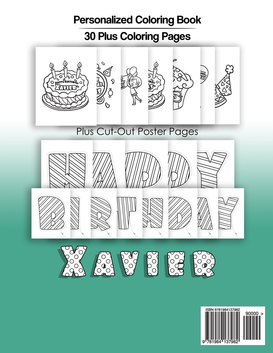 Xavier\'s Birthday Coloring Book Kids Personalized Books: A Coloring ...