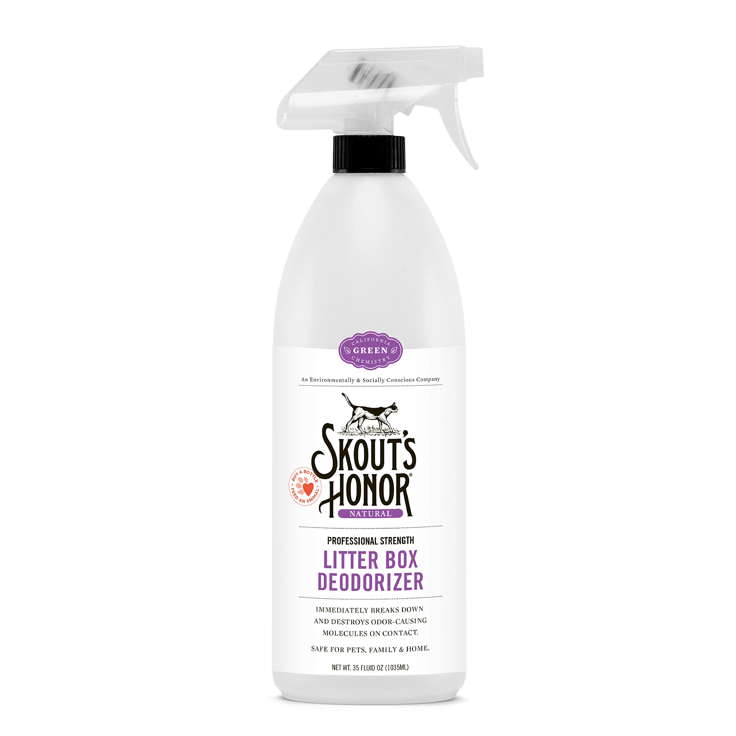 Skout's Honor Professional Strength, All-Natural Cat Litter Box Deodorizer - Non-Toxic, Biodegradable, and Eco-Friendly - Destroys Foul Odor Molecules On Contact - 32-Ounce Spray Bottle by SKOUT'S HONOR (Image #2)