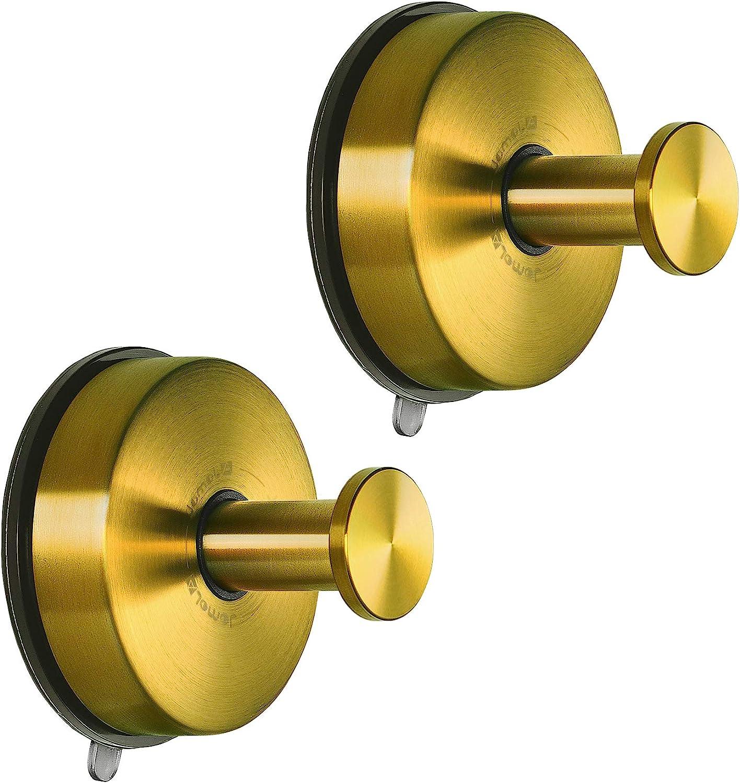 JOMOLA Suction Cup Hook Bathroom Towel Holder Utility Shower Hooks Hanger for Towel Storage Kitchen Utensil Stainless Steel Vacuum Suction Cup Hooks, Brushed Gold, 2PCS
