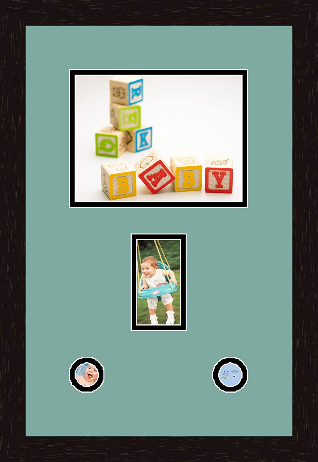 Art to Frames Double-Multimat-1083-818//89-FRBW26061 Collage Frame Photo Mat Double Mat with 1-7x9 and 1-3x5 and 2-2x2 Openings and Espresso Frame
