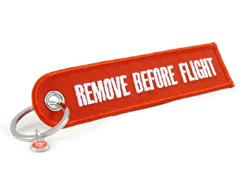Llavero Remove Before Flight, redondo (Rojo)