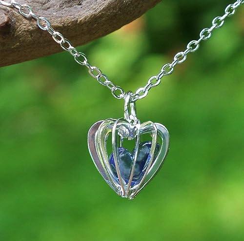 Bottled Up Designs Collar de jaula de corazón de botella de ...
