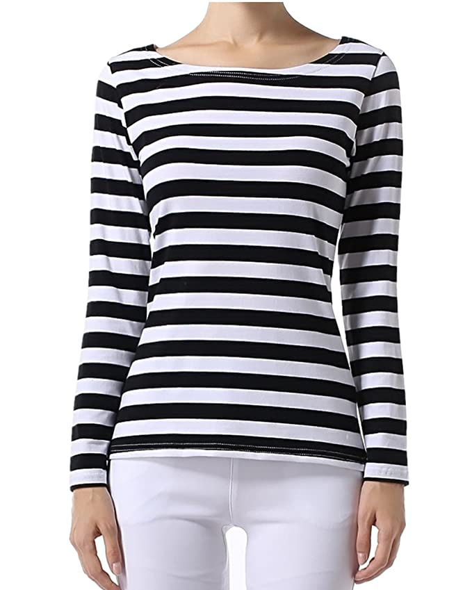 OUGES Women's Long Sleeve Stripe Pattern T-Shirts at Amazon Women's  Clothing store: