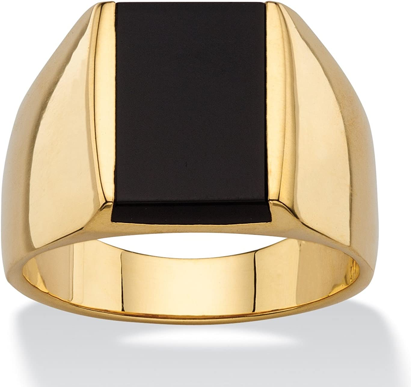 Palm Beach Jewelry Men's 14K Yellow Gold Plated Emerald Cut Natural Black Onyx Ring