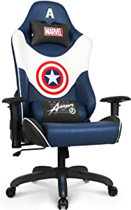 Marvel Avengers Gaming Chair Desk Office Computer Racing Chairs - Recliner Adults Gamer Ergonomic Game Reclining High Back Support Racer Leather Rocker (Captain America, Navy Blue)