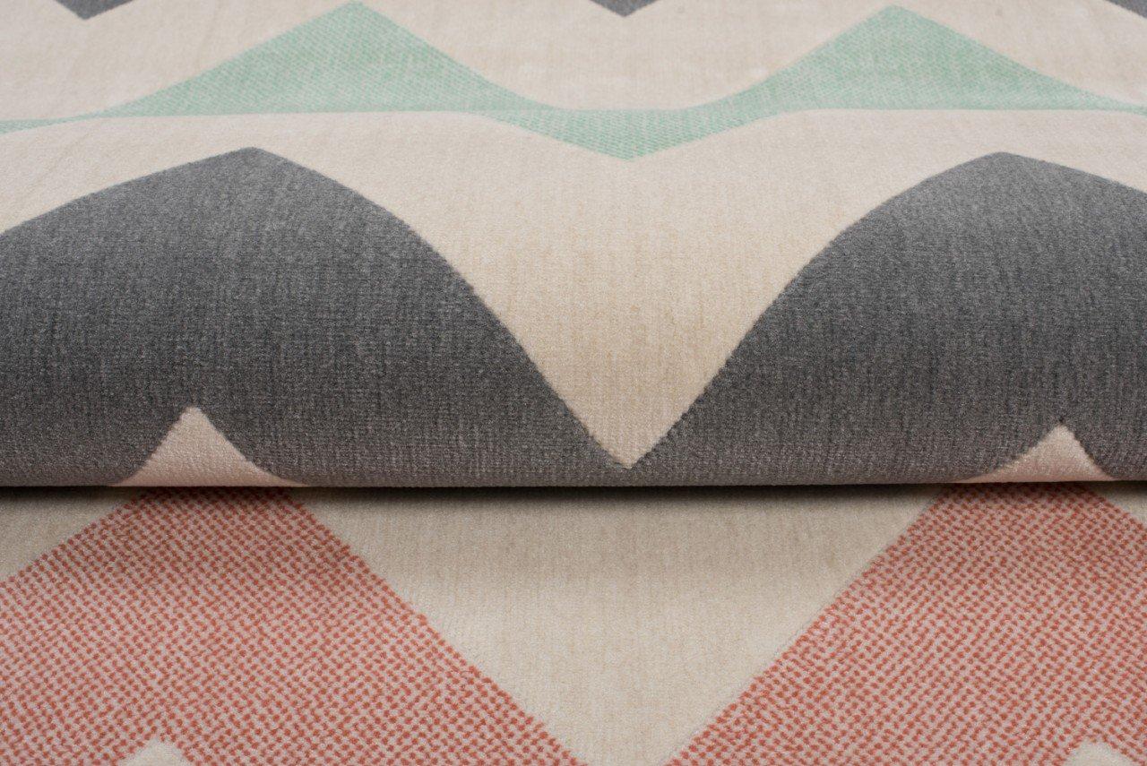 Tapiso Canvas Modern Teppich Teppich Teppich Kurzflor Designer Jugendteppich in Creme Grau Bunt mit Geometrisch Zick Zack Streifen Linien Muster Perfekt für Jugendzimmer ÖKOTEX 120 x 170 cm 9c1482