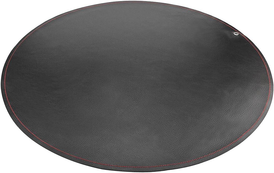 LinkIdea Leather Splat Mat for Under High Chair Floor Protector for Kids - Reusable Infant High Chair Mat Food Splash Spill Mats, Waterproof Portable Picnic Blanket Outdoor Mat (Black)