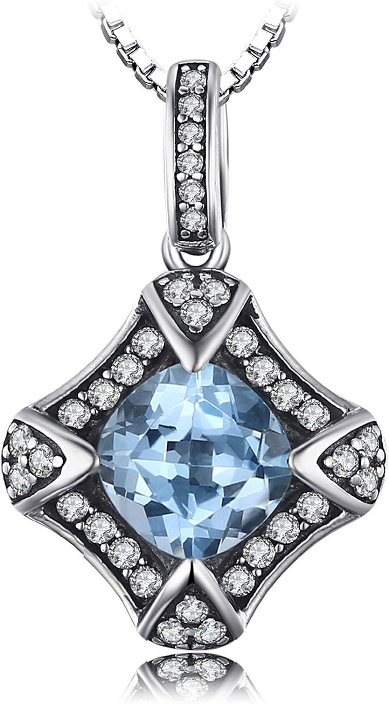 JewelryPalace Colgante adornado gema natural Topacio Amatista Citrino Peridoto y Granate Collar Plata de ley 925 cadena de caja 45cm