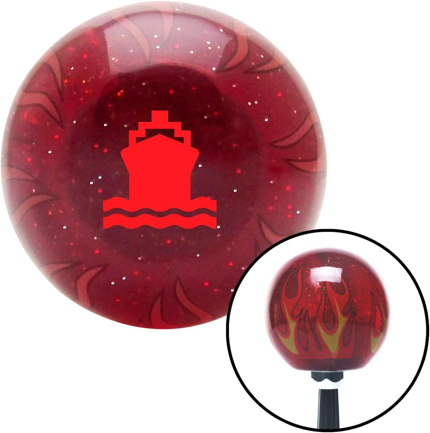 American Shifter 241029 Red Flame Metal Flake Shift Knob with M16 x 1.5 Insert Red Marine Ship