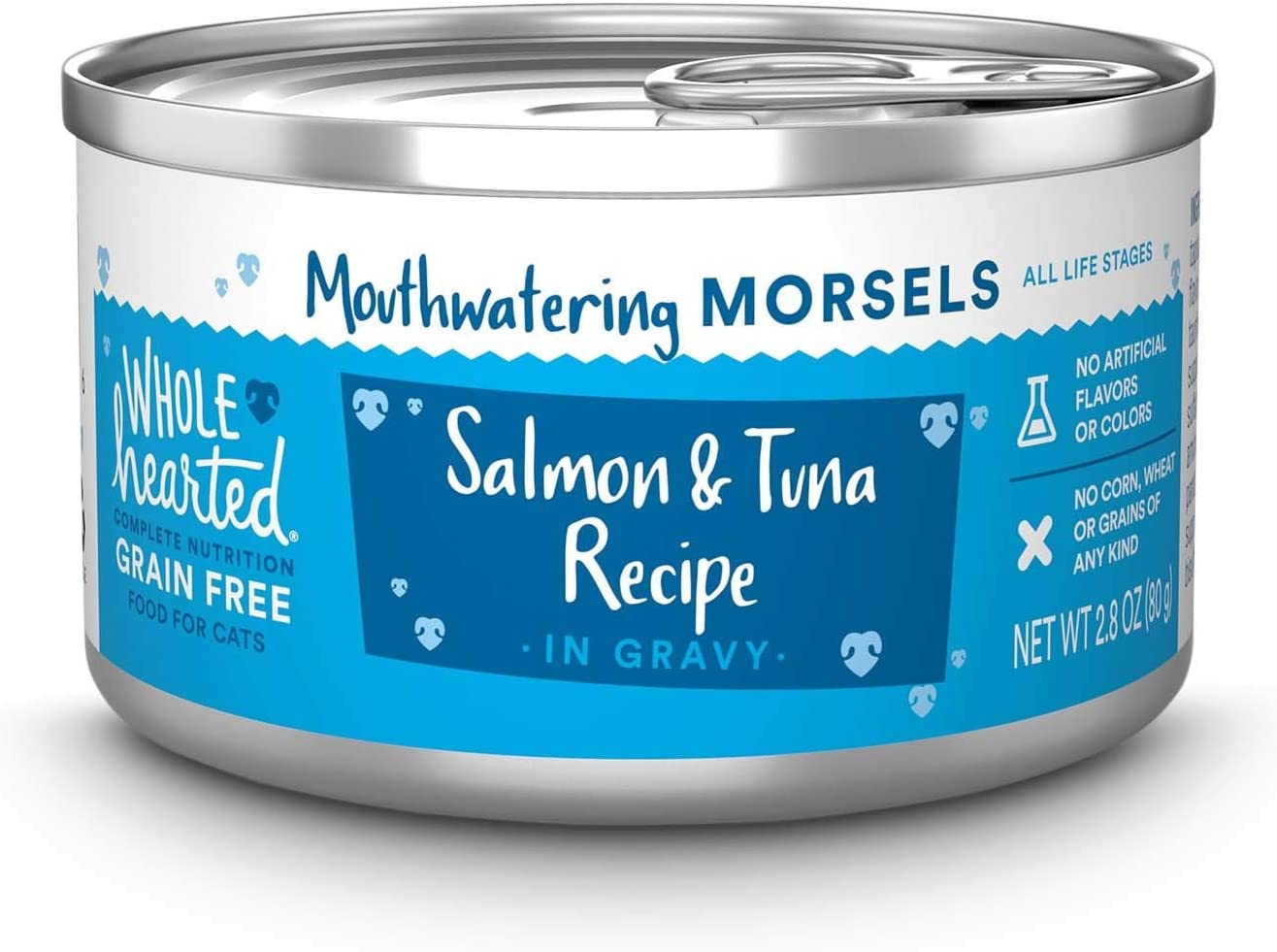 Petco Brand - WholeHearted All Life Stages Grain-Free Salmon Recipe Morsels in Gravy Wet Cat Food, 2.8 oz., Case of 12, 12 X 2.8 OZ
