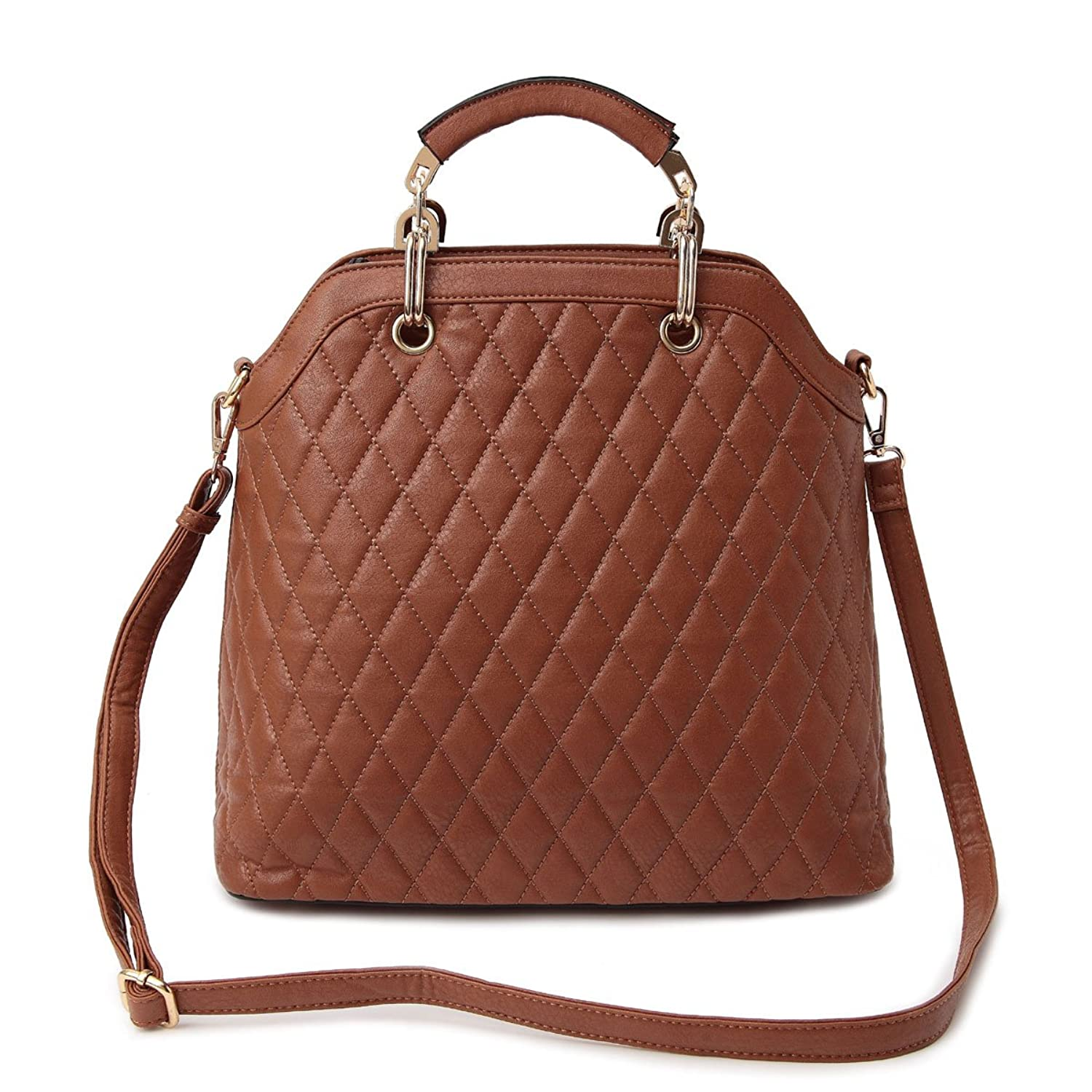 Best Quilted Tan Vegan Leather Sack Tote Purse Top Valentine Gift Idea Handbag