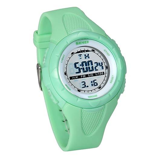 JewelryWe Relojes para Niños Niñas Reloj Deportivo Digital para Aire Libre, Reloj Infantil De Colores, 5ATM A Prueba de Agua Buen Regalo, Verde: Amazon.es: ...