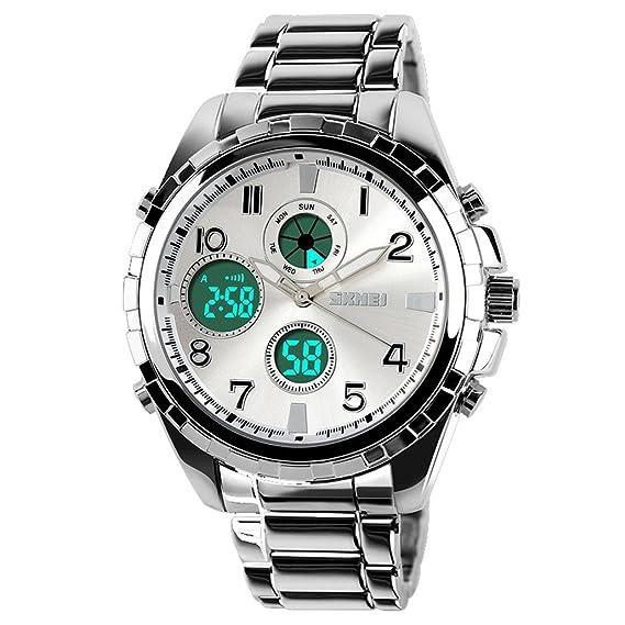 ufengke® dual noche luz reloj de pulsera electrónico exquisito fresco para los hombres,elegante reloj de pulsera muñeca a prueba de agua,blanco: Amazon.es: ...