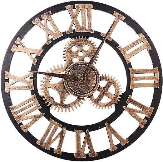 Wallfire Reloj de Pared Decorativo Grande de Madera y Metal en 3D Números Romanos Retro Reloj de Arte Grande