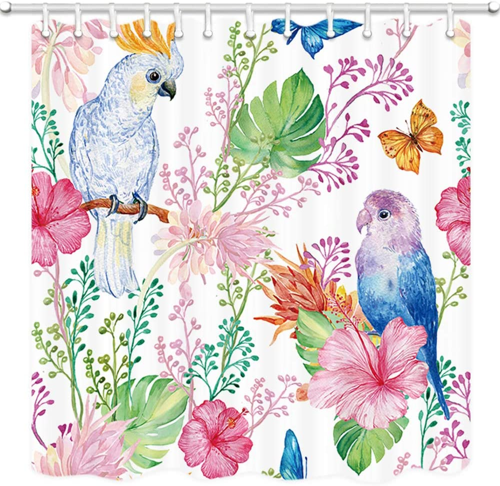 Amazon Com Dynh Watercolor Floral Shower Curtain Tropic Exotic Flowers And Love Parrot Birds Wallpaper Hawaiian Bath Curtains 3d Fabric Bathroom Accessories 12pcs Shower Hooks 69x70 Inch Pink Green Yellow Home Kitchen