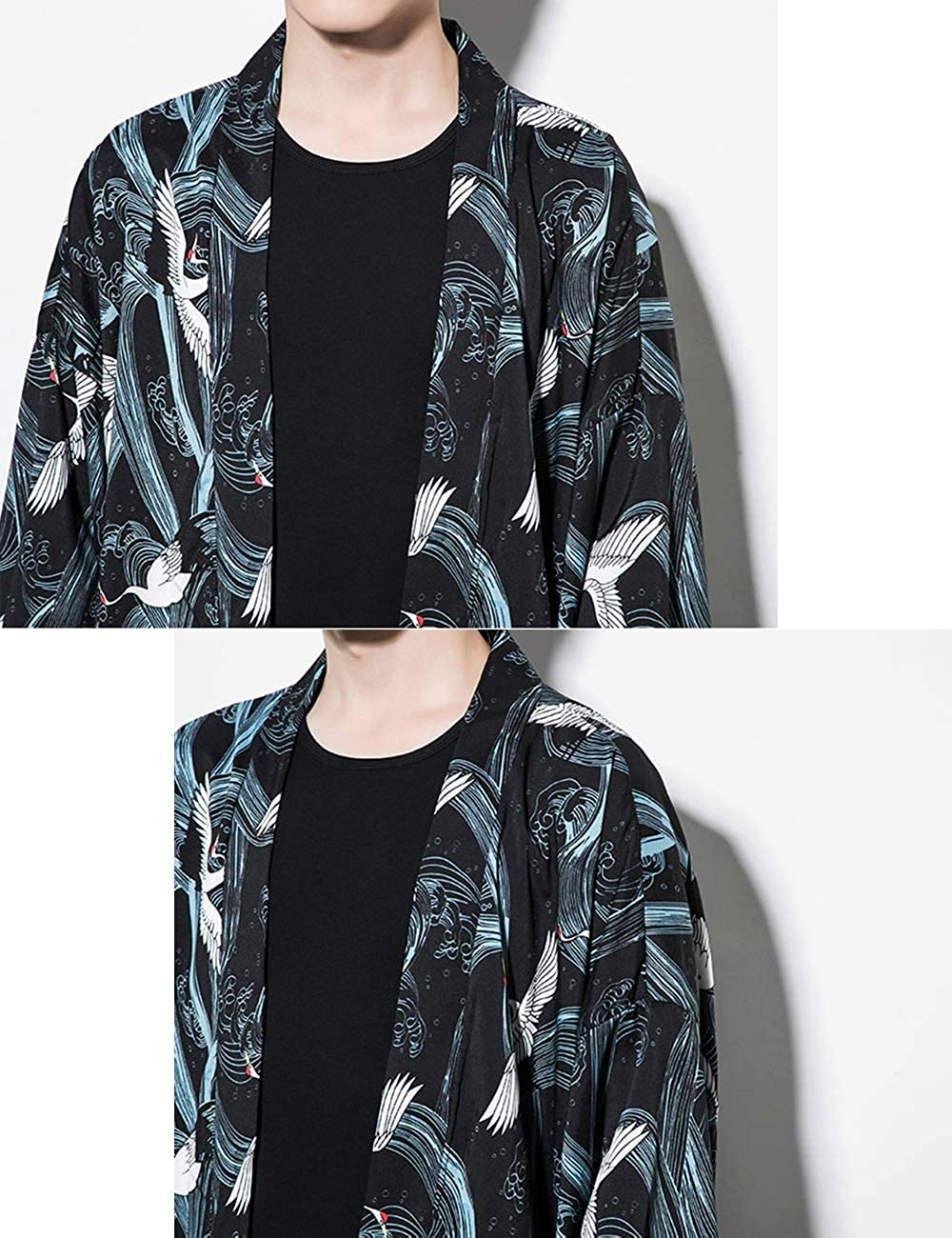 1b002b76b besbomig Chaqueta Haori de Verano Capa Ropa Japonesa de Moda para Hombre  Prendas de Abrigo Cardigan Kimono Hippie Ropa Casual