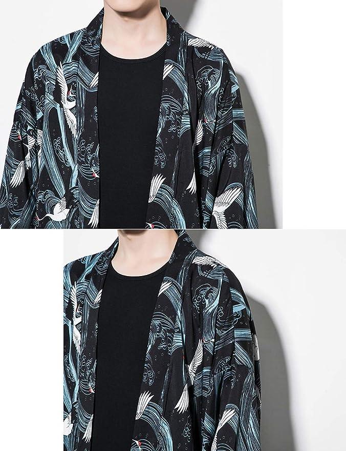 besbomig Chaqueta Haori de Verano Capa Ropa Japonesa de Moda para Hombre Prendas de Abrigo Cardigan Kimono Hippie Ropa Casual