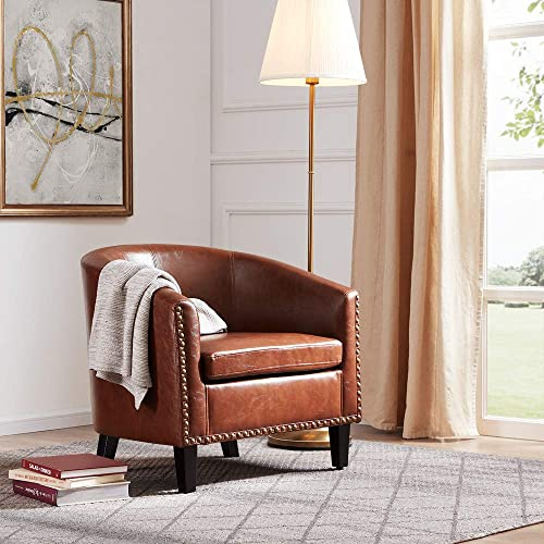 BELLEZE Modern Upholstered Arm Club Chair Faux Leather
