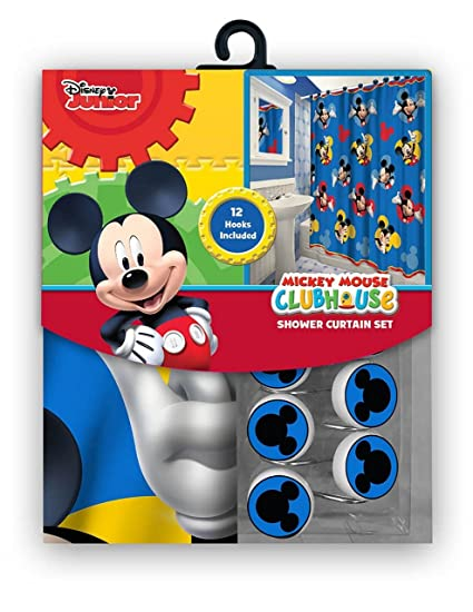 Disney 13 Pieces Mickey Shower Curtain with Matching Hooks