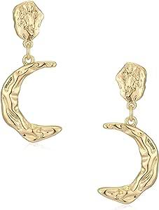Wrinkled Moon Earrings, Stone with Moon Earrings,Moon Hoops Dainty Earrings, Minimalist Earrings Space Jewellery, Moon Jewelry