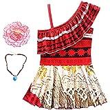Marosoniy Girls' Swimwear One-Piece Swimsuit Digital Print Moana Adventure Bikini with Necklace and Flower