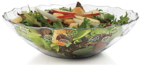 Circleware Pastoral Decorative Glass Fruit And Salad Bowl Dish Plate,  10.5u0026quot;, ...