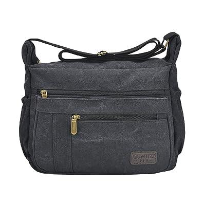 Fabuxry Light Weight Canvas Shoulder Bag for Women Messenger Handbags Cross  Body Multi Zipper Pockets Bag d1a70bf61298f