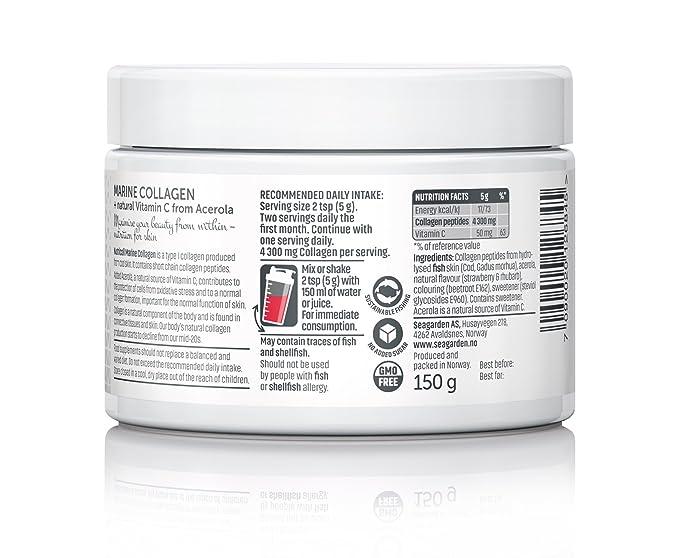 Polvo de colágeno marino noruego puro con vitamina de la fruta de acerola natural | péptidos hidrolizados | Gran sabor natural de fresa ligera I 30 ...