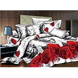 Sweet Marilyn Monroe y rojo Rose Impresión Juego de funda de edredón de conjuntos