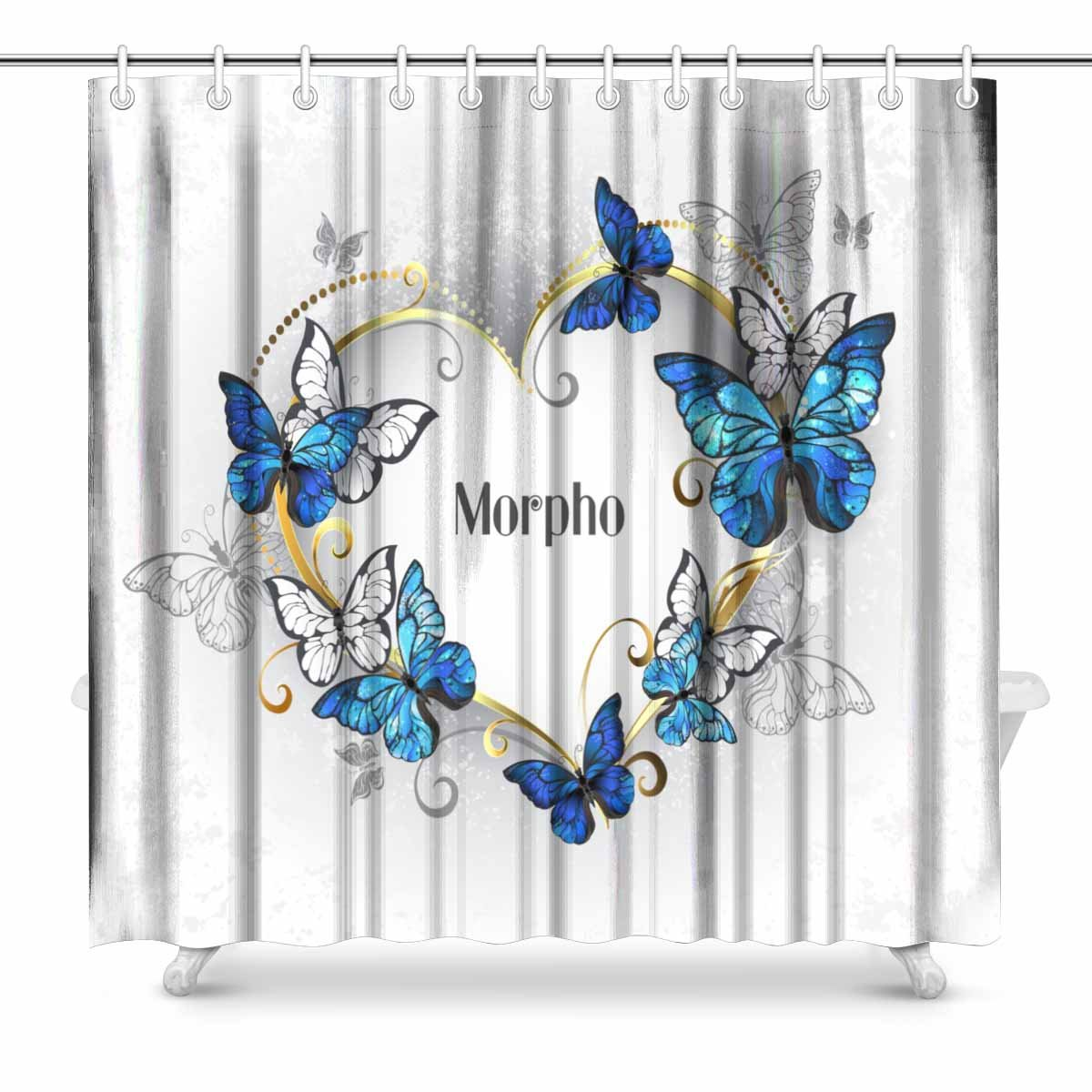 INTERESTPRINT Jeweled Golden Heart With Blue And White Realistic Butterflies Morpho Fabric Bathroom Shower Curtain Decor Set Hooks 72 X Inches